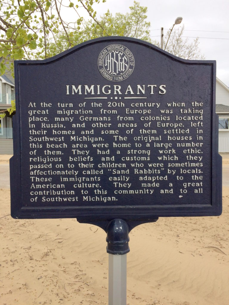 Plaque about the early immigrants to St. Joseph Michigan