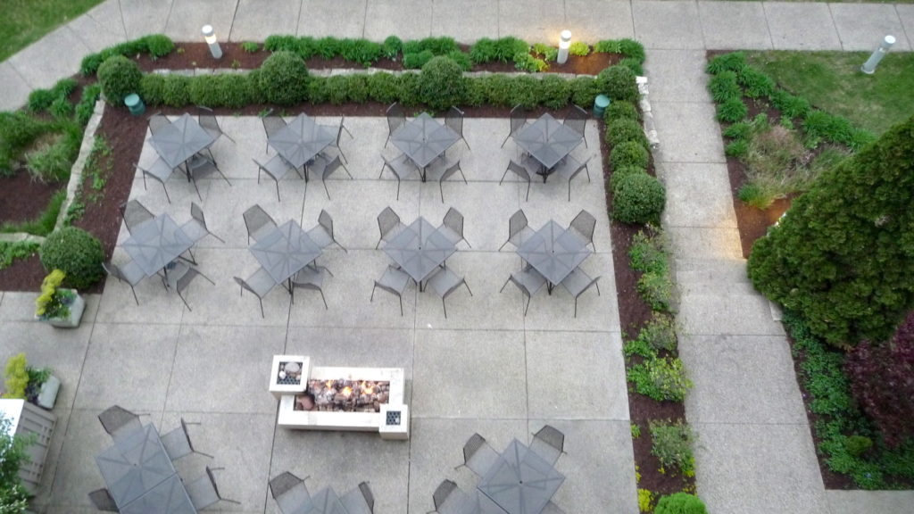 View of the fire pit at Harbor Grand Hotel at New Buffalo Michigan