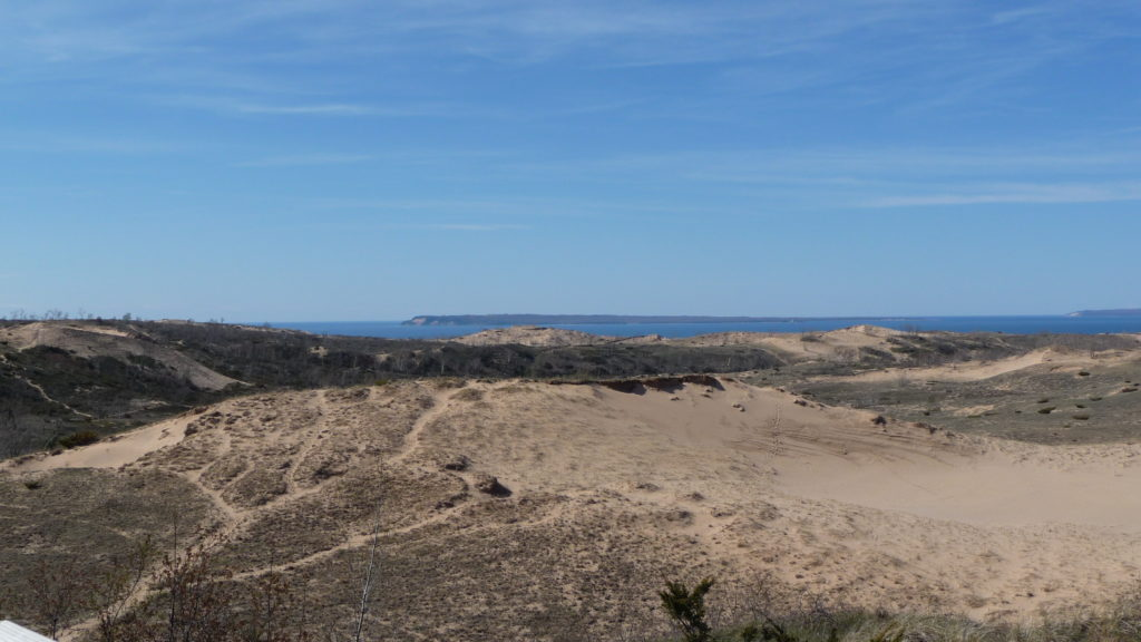 View of lake and dunes at Sleeping Bear Dunes National Lakeshore Michigan