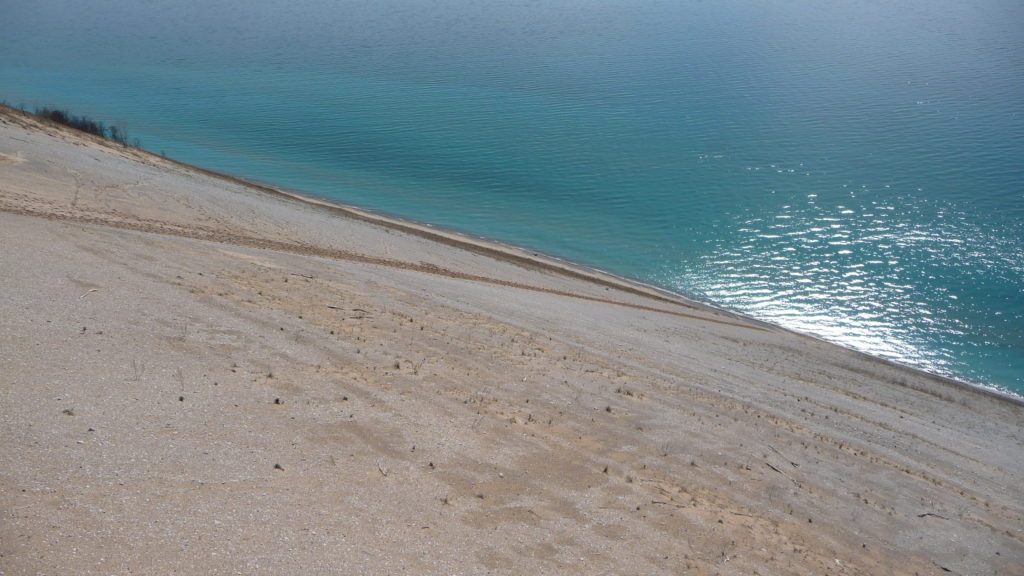 Steep dunes down to waters edge at Sleeping Bear Dunes National Lakeshore Michigan