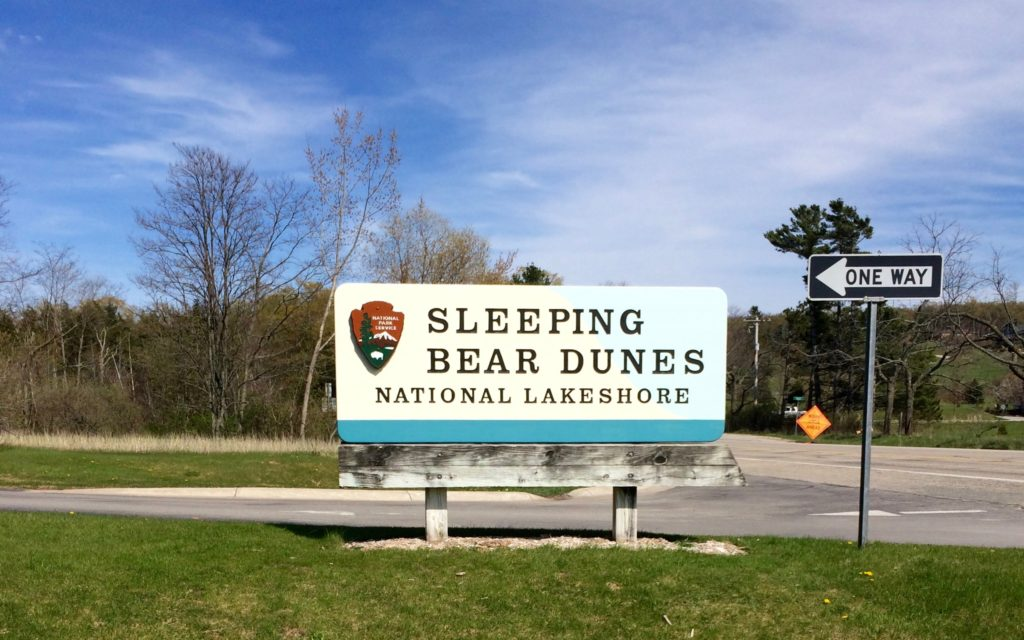 Sign at entrance to Sleeping Bear Dunes National Lakeshore Michigan