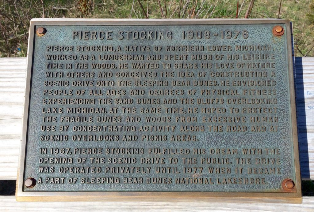 Pierce Stocking plaque at Sleeping Bear Dunes National Lakeshore Michigan