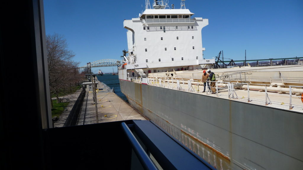 Boat going through the Soo Locks-2
