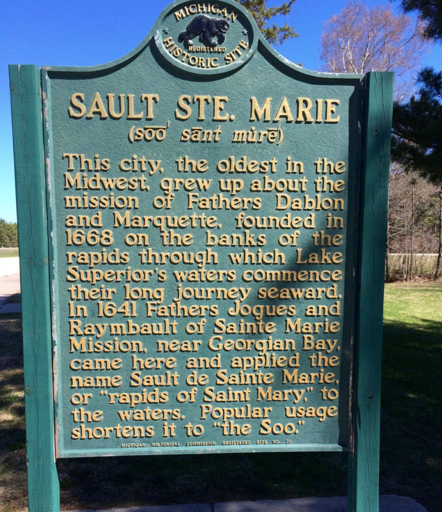Plaque about the city of Sault Ste. Marie