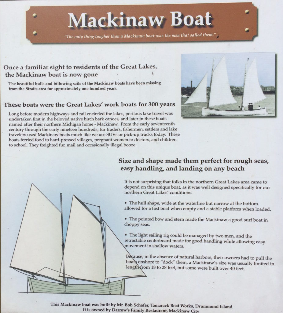 Plaque about the replica and history of the Mackinaw Boat