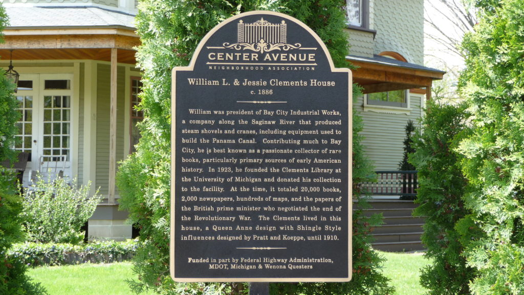 Plaque of William Clements House Bay City