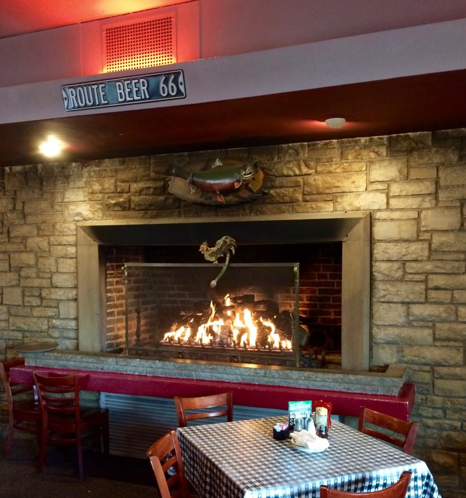 The fireplace at Dell Rhea's Chicken Basket
