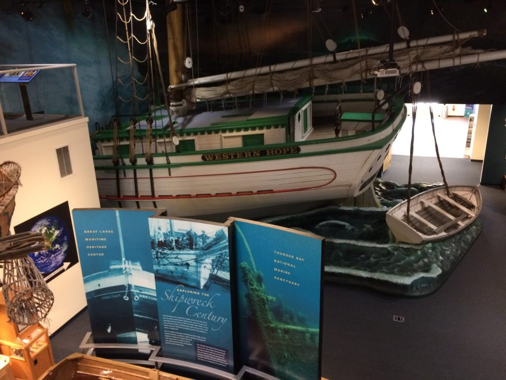 Boat displays inside the Great Lakes Maritime Heritage Center museum