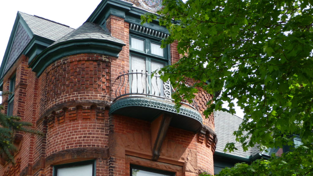 detail of Brick Queen Anne Historic home in Bay City Michigan