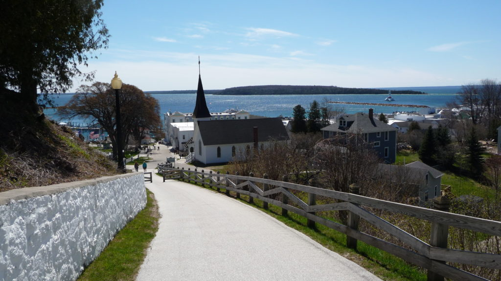 Sidewalk going up the hill at Mackinac Island
