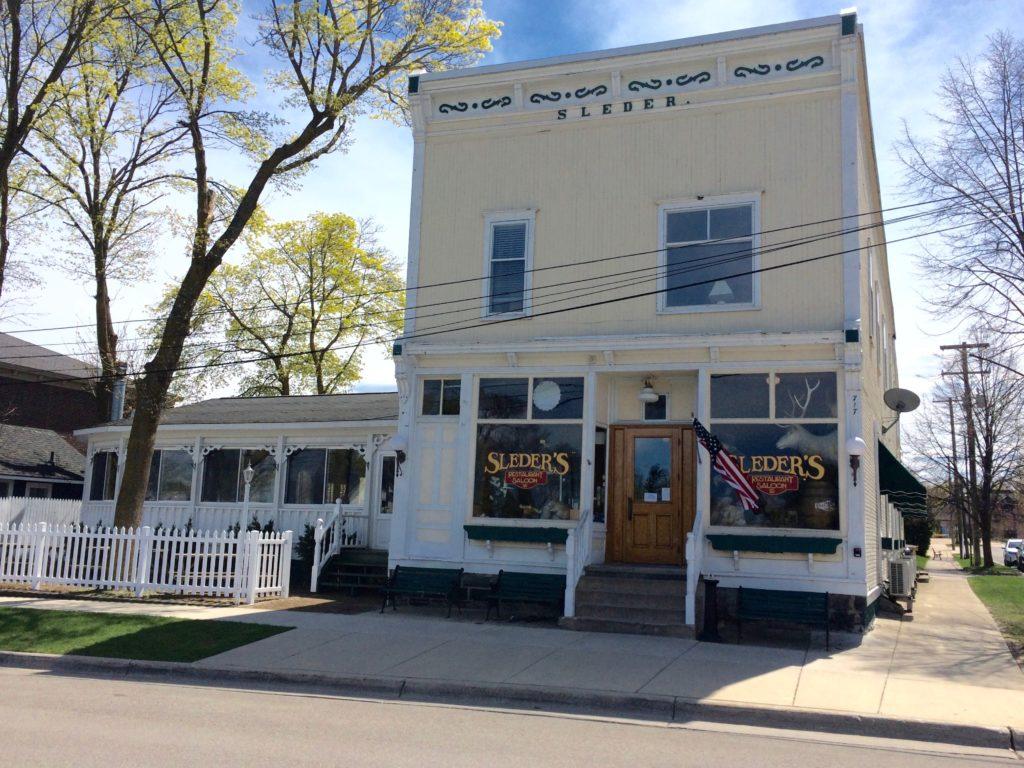 Front of Sleder's Tavern at Traverse City Michigan