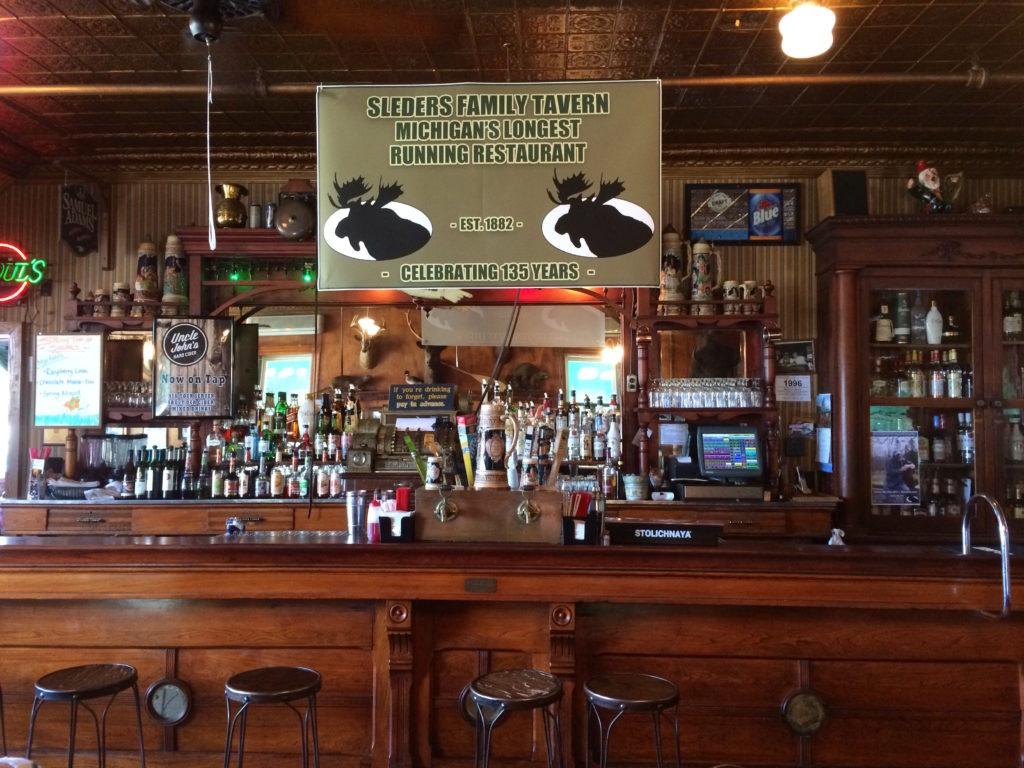 Bar and tin ceiling at Sleder's Tavern at Traverse City Michigan