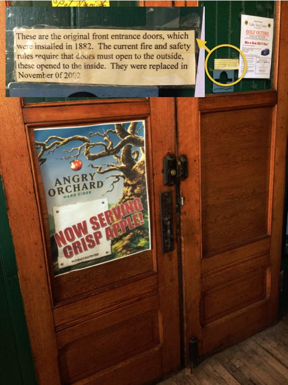 Original front doors of Sleder's Tavern at Traverse City Michigan