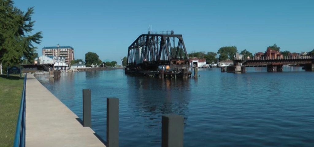 The rotating bridge at the St Joseph River St. Joseph Michigan