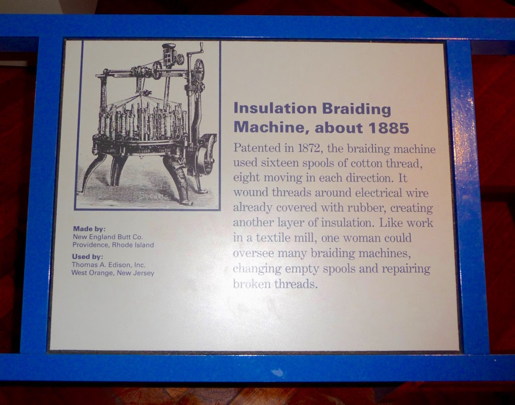 Plaque about insulation braiding machine at Henry Ford Museum
