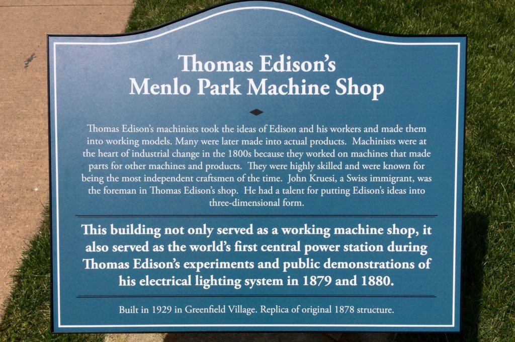 Plaque about Edison's Machine Shop