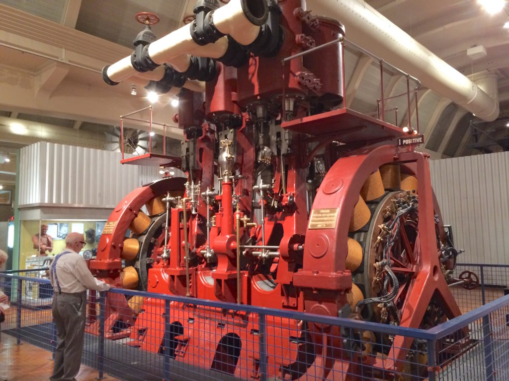 Huge red electric generator at the Henry Ford Museum