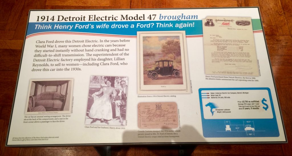 Plaque about Clara Ford's electric car Detroit Electric Model 47