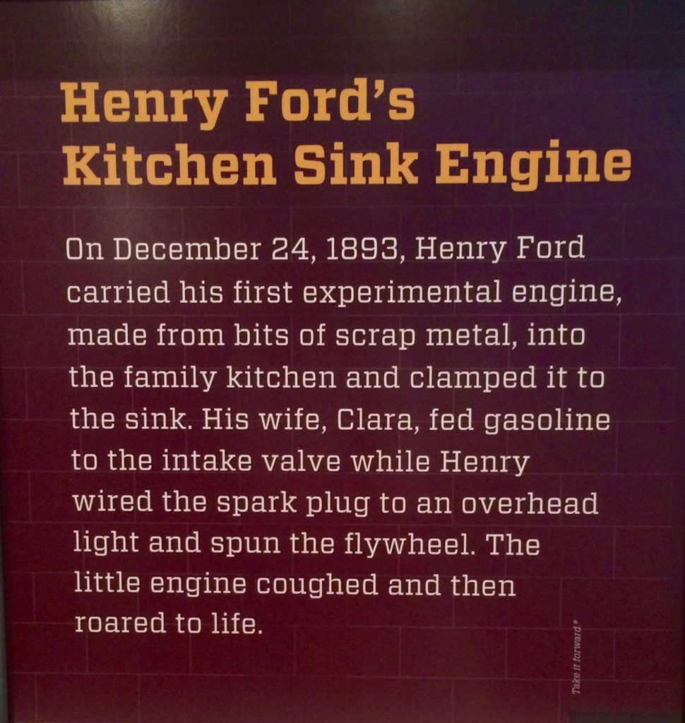 Plaque about Henry Ford's Kitchen Sink Engine