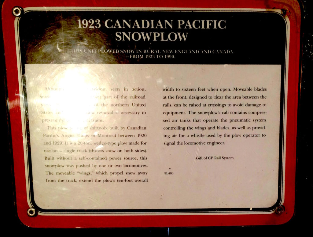 Plaque about the 1923 Canadian Pacific Snowplow