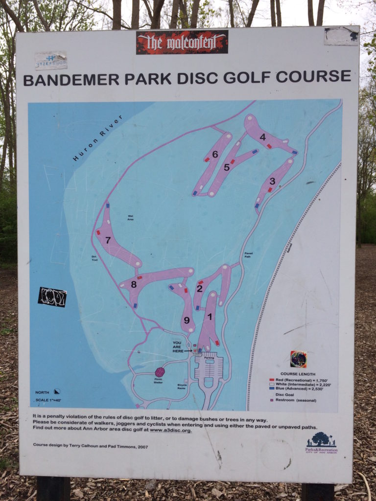 Disc golf course at Bandemer Park Ann Arbor MI
