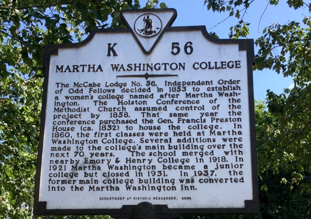 A plaque showing the history of the Martha Washington College