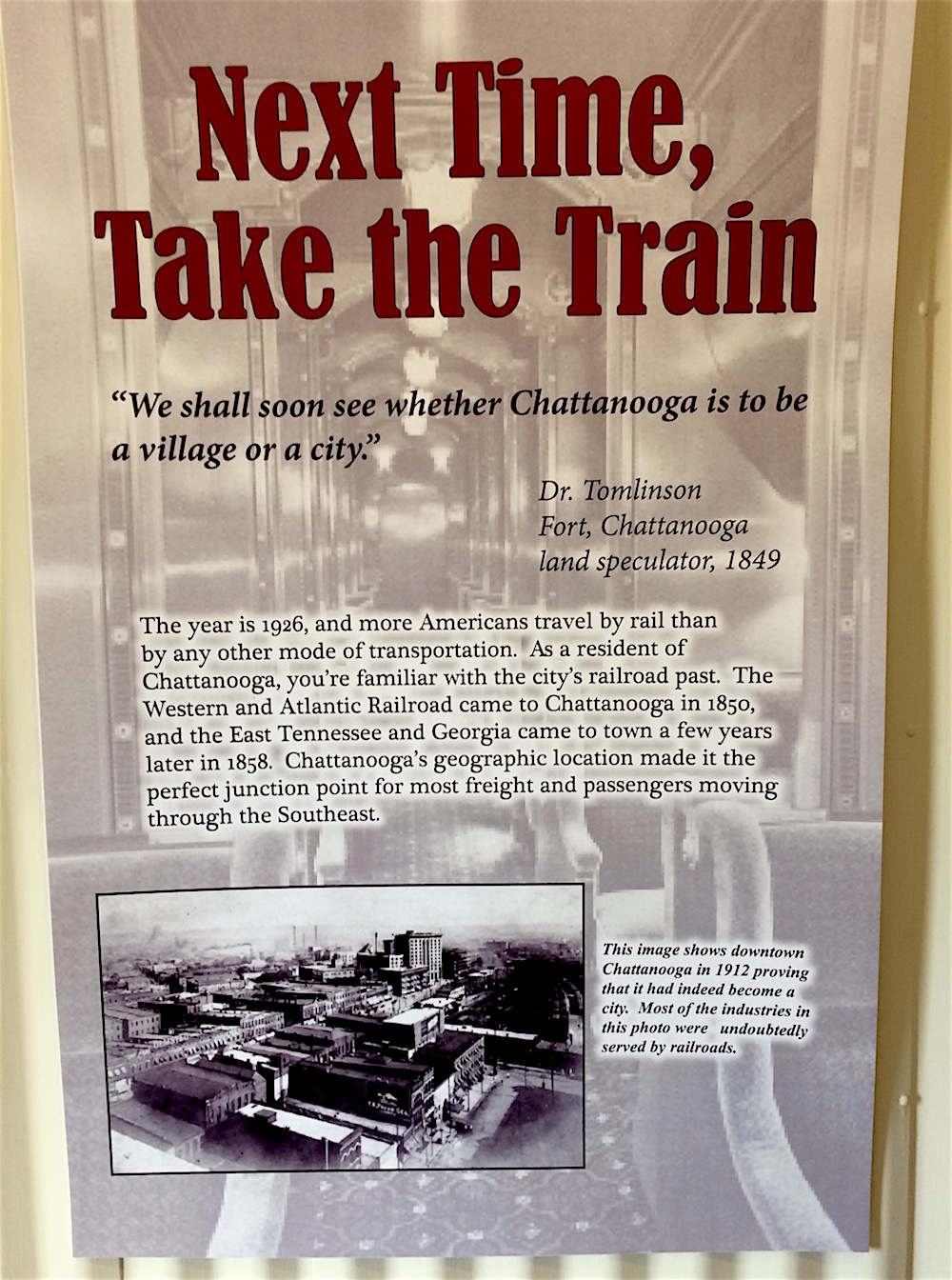 Sign about the future of the railroad industry in Chattanooga Tennessee