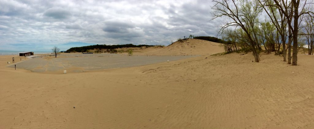 The parking lot at Warren Dunes State Park Michigan