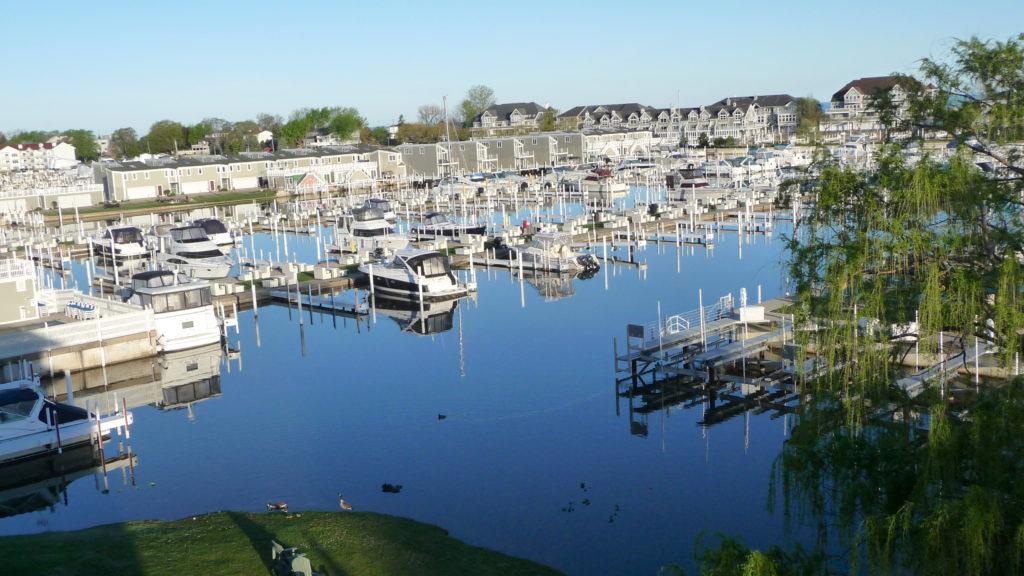 View of marina at Grand Harbor Hotel New Buffalo Michigan