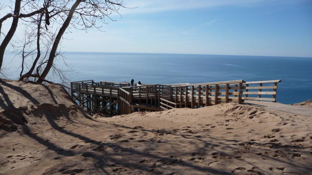 Overlook of dunes at Sleeping Bear Dunes National Lakeshore Michigan