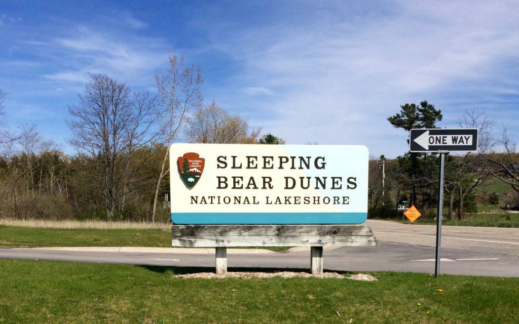 Sign at entrance to Sleeping Bear Dunes National Lakeshore Michigan