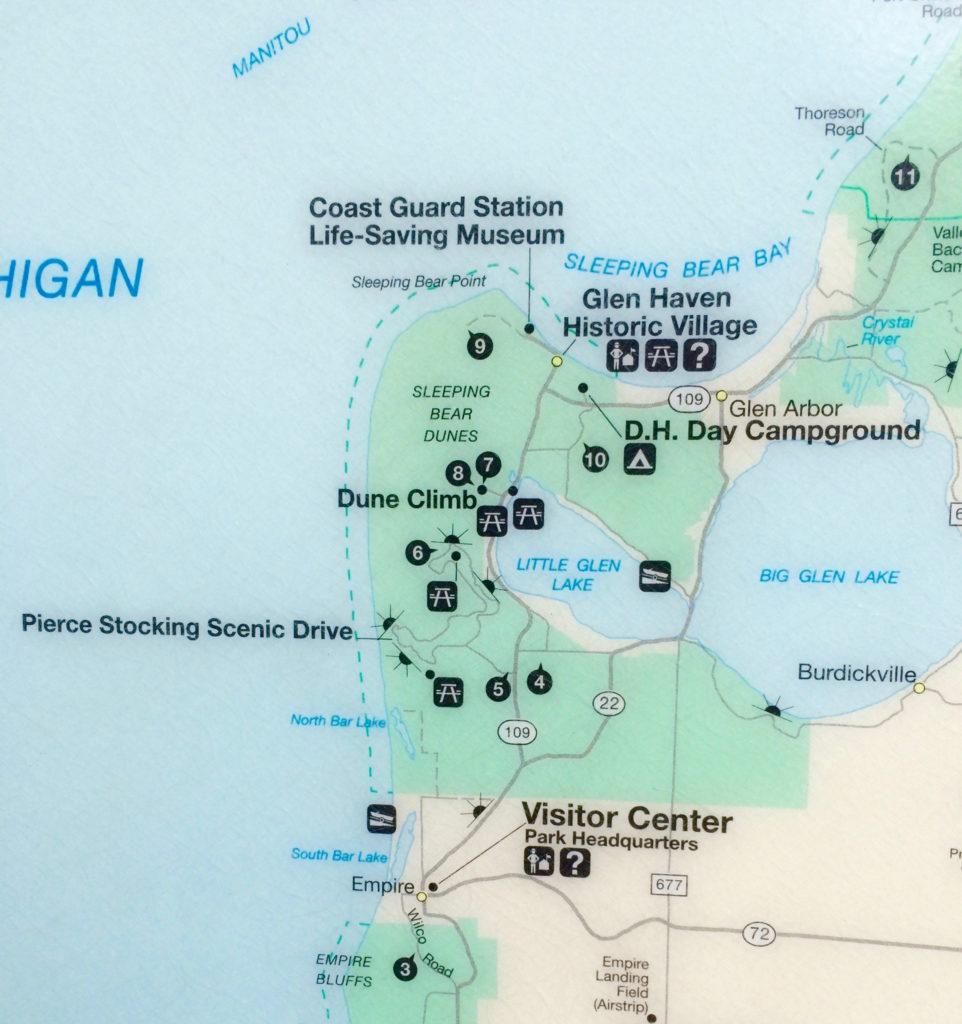 Map of Pierce Stocking Scenic Drive at Sleeping Bear Dunes National Lakeshore Michigan