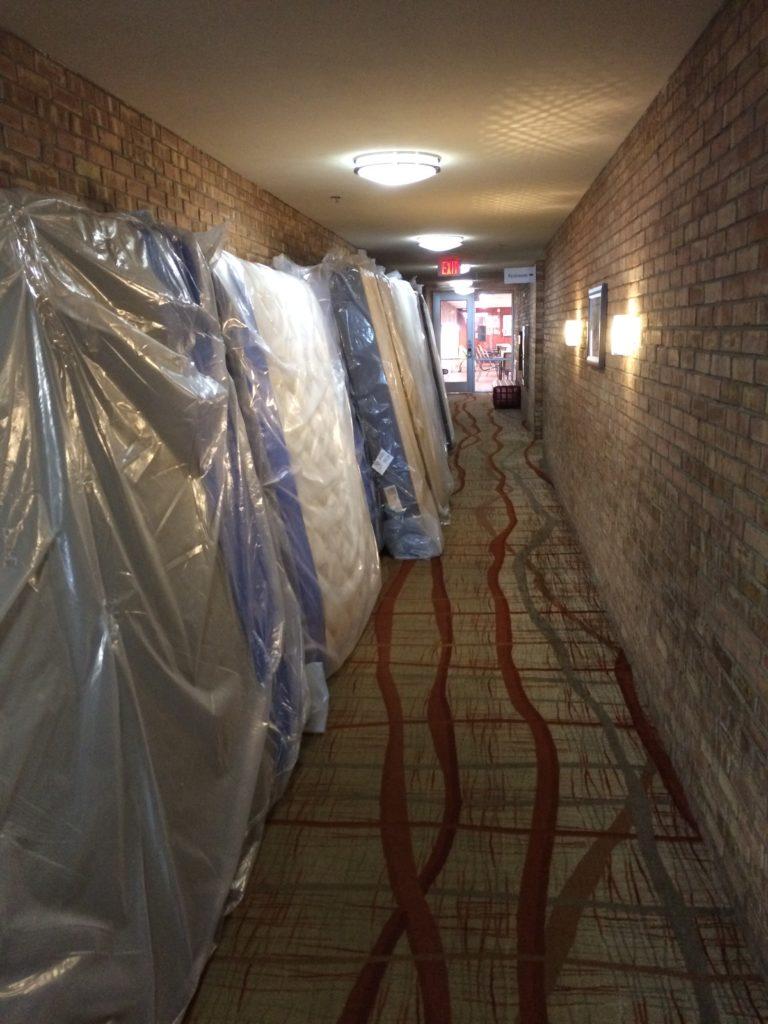 Matresses in hallway at Holiday Inn Resort West Bay Beach Hotel Traverse City Michigan