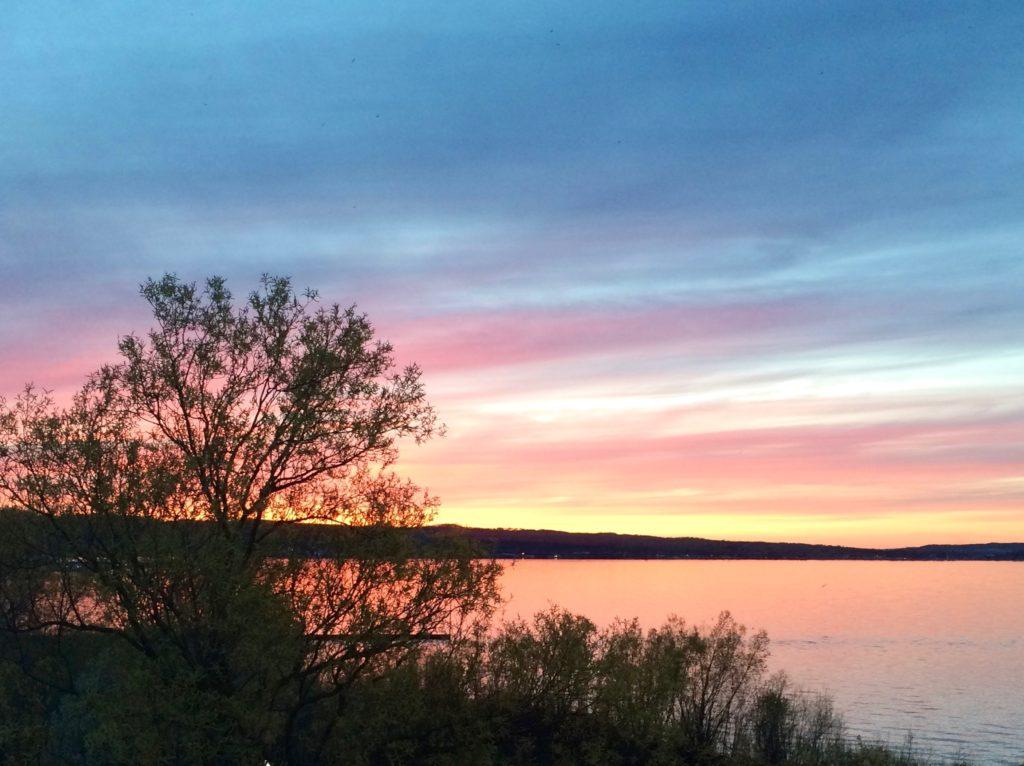 Sunset over West Arm Grand Traverse Bay Traverse City Michigan