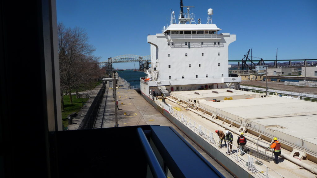 Boat going through the Soo Locks-3