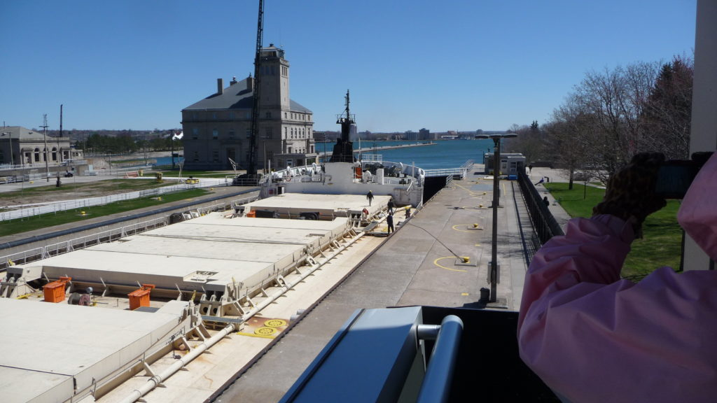 Boat going through the Soo Locks-4