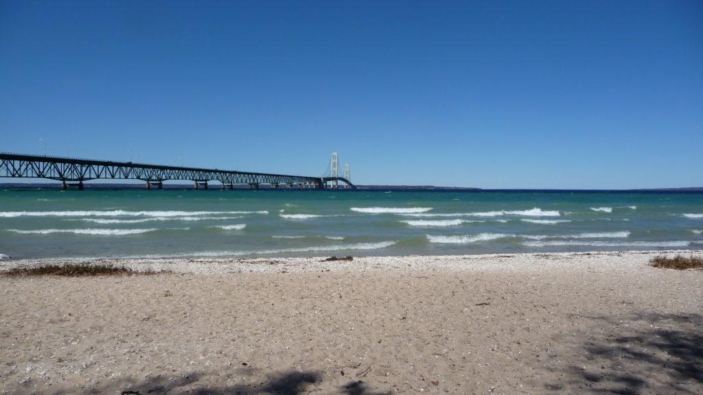 View of Mackinac Bridge from the beach