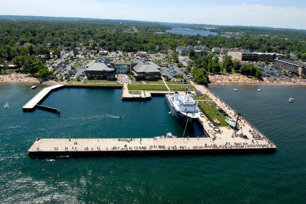 Aerial view of Traverse City Michigan harbor