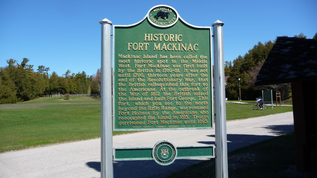 Plaque describing the history of Fort Mackinac