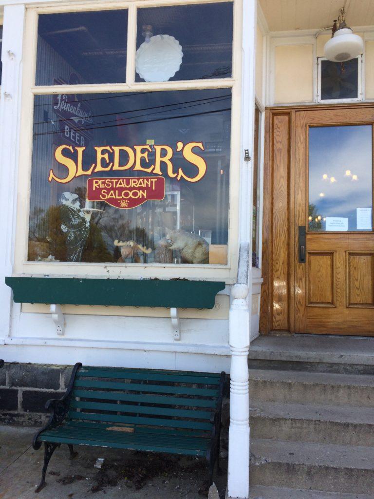 Front window at Sleder's Tavern at Traverse City Michigan