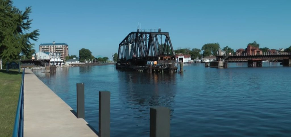 The rotating bridge at the St Joseph River St. Joseph Michigan
