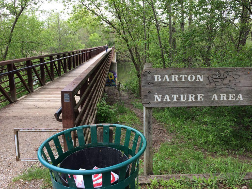 Bridge across Huron River at Barton Nature Area