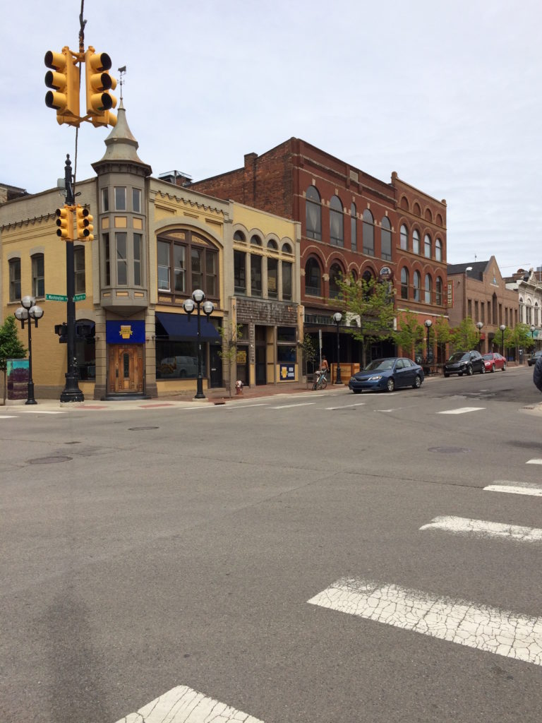 View of street in downtown Ann Arbor Michigan