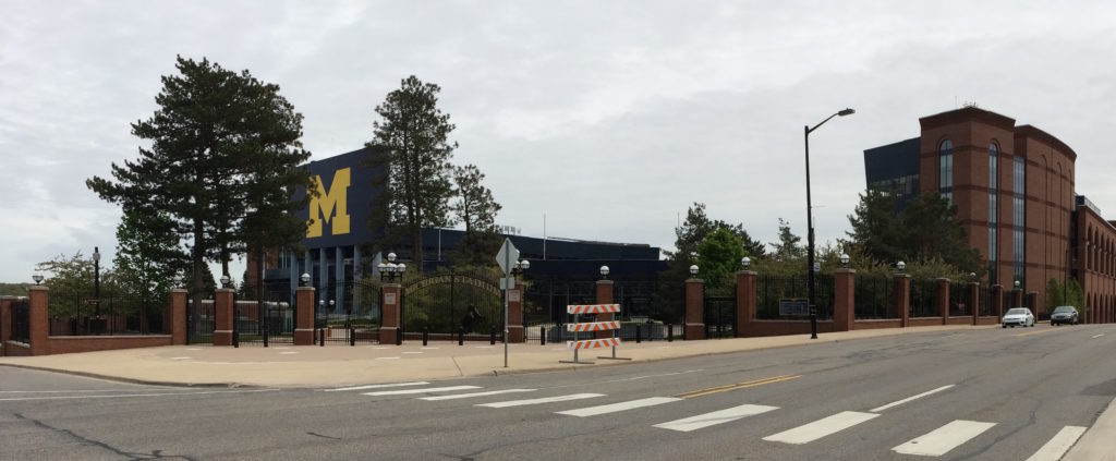 View of the University of Michigan stadium from the outside