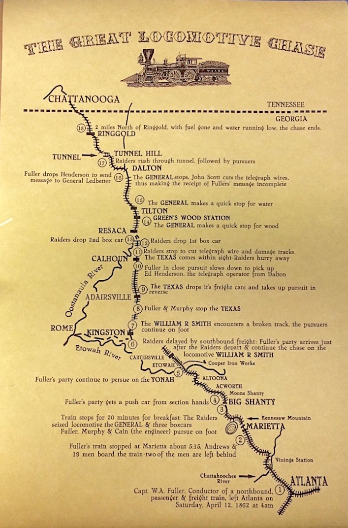 Documention showing the timeline of the Great Locomotive Chase